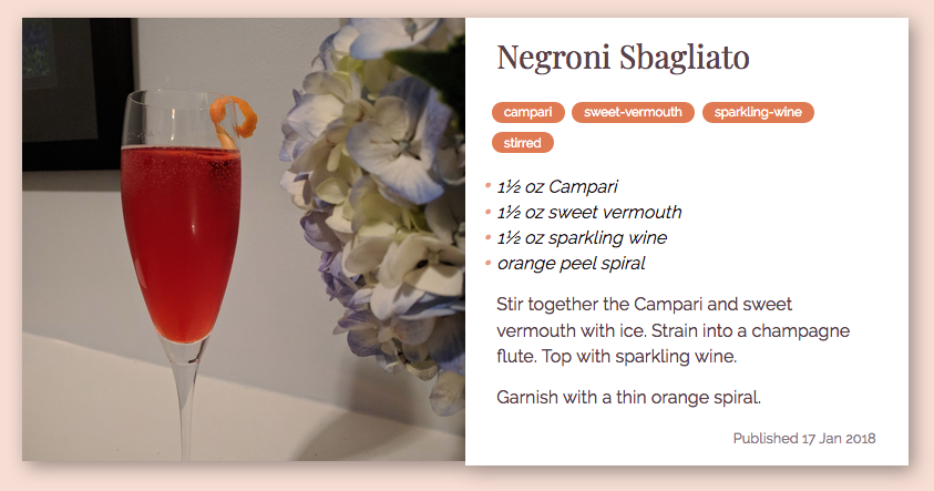 A recipe card for a cocktail called Negroni Sbagliato
