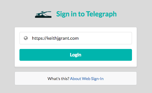 Web sign in screen for Telegraph